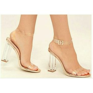Lulus Clear To See Rose Gold Lucite Heels 6.5M
